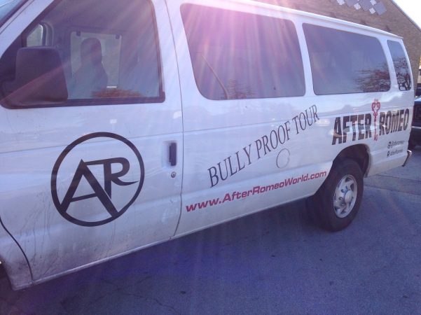 The Bully Proof Tour Van parked outside McCord Junior High