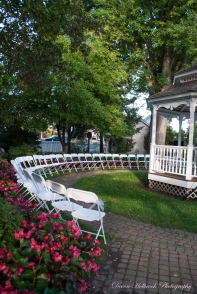 White Chairs encircled the Gazebo in the Sylvania's Historical Village