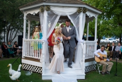 I don't remember my feet touching the ground as we left the gazebo. Here's proof they did.