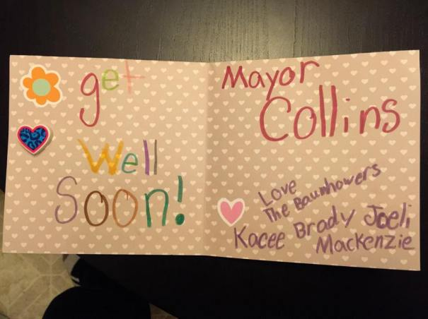 My daughter, Joeli Baumhower, 8 years-old, made this card for Mayor Collins