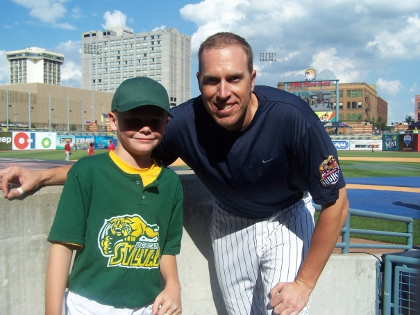 Brady and Home-Run King, Mike Hessman, June 2008